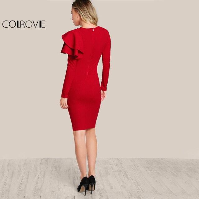COLROVIE Rouge OL Élégant Moulante Robe 2017 Femmes Un Côté Gradins ruche Mignon À Manches Longues Robe Automne Nouveau O Cou Sexy Midi robe