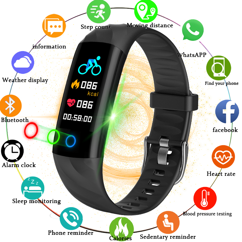 BANGWEI 2018 New Men Smart Watch Waterproof Sport Watch Fitness Tracker Blood Pressure Heart Rate monitoring for Android iOS+Box