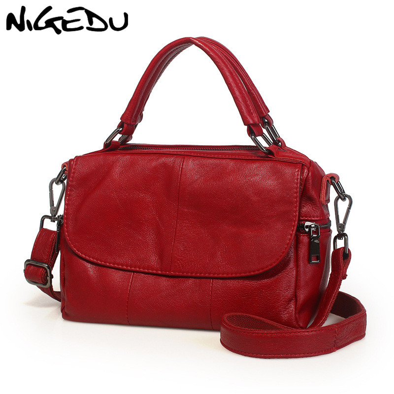 NIGEDU Soft Genuine Leather Women Handbag Casual Women Boston Shoulder Bag brand luxury design handbags female messenger bag soft cowhide genuine leather women shoulder bags fashion handbags simple european style boston messenger bag pillow female packs