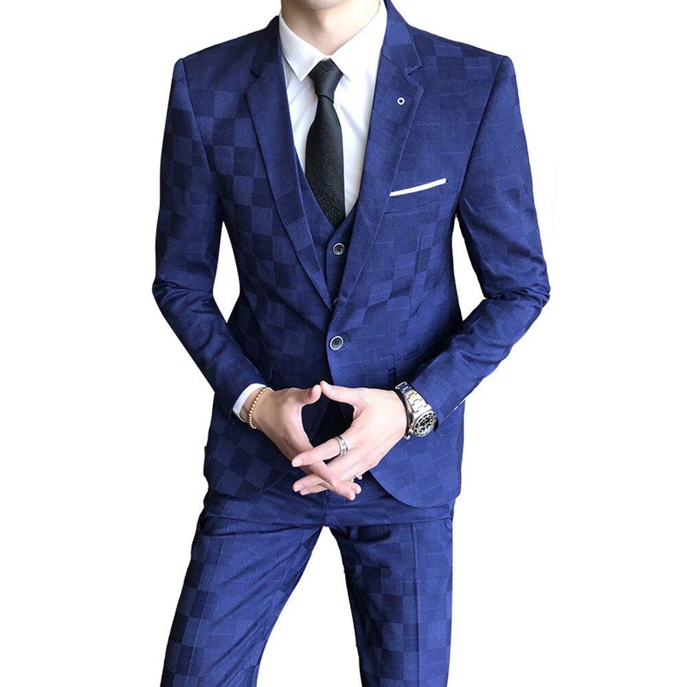 Men's Formal Suit 3 Piece Set Business Wedding Banquet Male Grid Suits Jackets With Vest And Pants Slim Elegant Man Sets