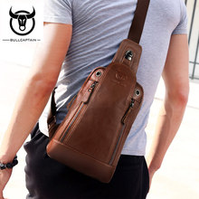 BULLCAPTAIN Fashion Genuine Leather Crossbody Bags men Small Brand music messenger bags Male Shoulder Bag chest bag for men цена и фото