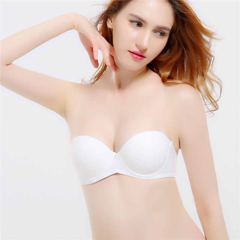 Mozhini Womens Padded Push Up bra Great Support chest Strapless Bra Backless Strapless Seamless Bra Gather Adjustable sexy bra