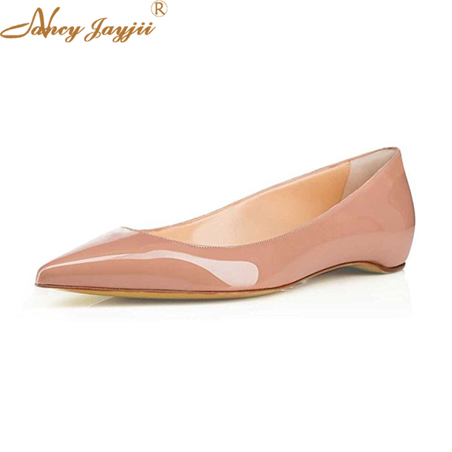 Fashion Flat Shoes Nude Red Coffee Patent Leather Autumn Shoes Sexy Pointed  Toe Women Ballet Flats