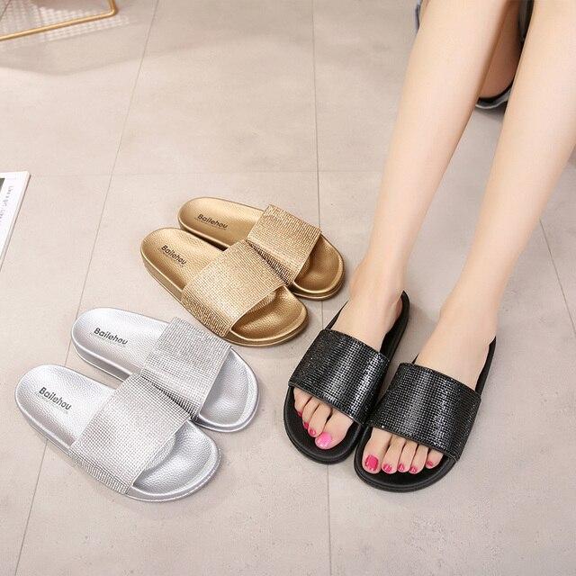 cfc3470fa622 Slippers Women Slides Ladies Shoes Woman Fashion Sandals Crystal Gold  Summer Beach Women Flip Flops Flat