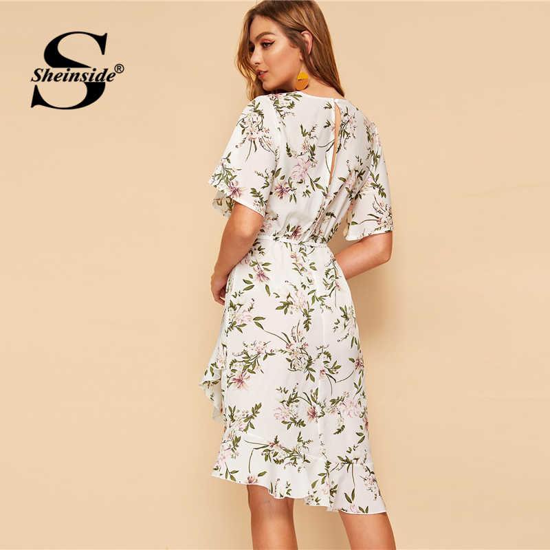 Sheinside элегантный Цветочный принт платье трапециевидной формы Для женщин 2019 летом с коротким рукавом, с вырезом на спине шифоновые платья дамы с гофрированным подолом платье