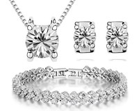 Cubic Zircon Bracelet Necklace Earrings Jewelry Sets Women Bridal Jewelry White Gold Plated High Quality Top