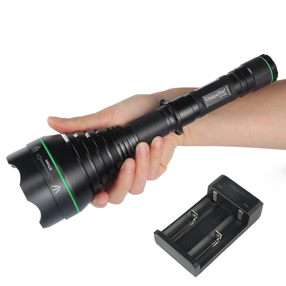 UniqueFire New Night Hunting LED Flashlight UF-1508 T67 IR850nm Focusable Infrared Illuminated Flashlight Torch Lamp+ Charger uniquefire uf 1200 super bright cree u2 lamp flashlight light from outdoor hiking night fishing hunting led flashlight
