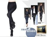 1 sztuka Zima Zagesccie Bawełna Duże Faux cotton Jeans Legginsy Kobiet Ciepłe Slim Ołówek spodnie 2 kolory dla wybór czarny niebieski XL