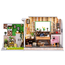 купить DIY Doll House Studio Miniature Dollhouse Model Wooden Handmade Craft Toy with Furnitures Casa De Boneca Toys Birthday Gift по цене 1856.24 рублей
