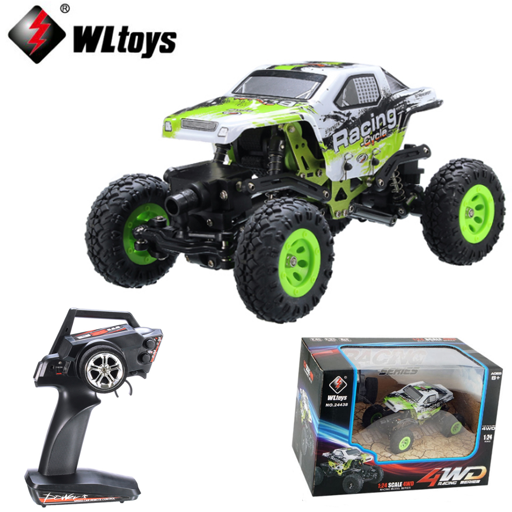 все цены на 1 set Wltoys 24438 1/24 2.4G 4WD Off-Road Remote Control Car Toys car climbing RC Racing Car Radio Controlled Boys Toy