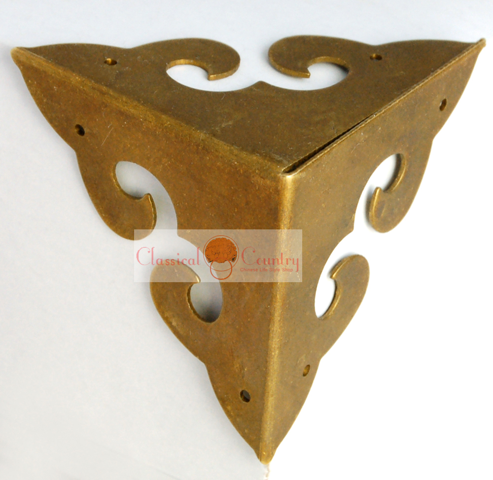 Chinese Style Brass Corners Hardware for Cabinet Jewelry Box Chest 4Pcs