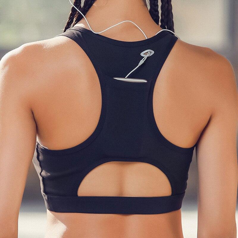 a6401a2d64d88 Phone Pocket Sports Bra Women s Padded Compression Sports Bra Sportswear  Phone Bra Bag Fast Dry Elastic Running Sport Bra Top