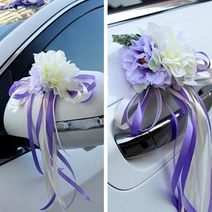 Image 4 - רכב חתונה קישוט פרח 10 צבעים דלת ידיות Rearview מראה חתונה ידית לקשט מלאכותי פרח לחתונה