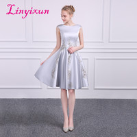 Linyixun Cheap Homecoming Dress 2018 a Line Scoop Zipper Mini Appliques Cocktail Party Dress Gray Short Satin Prom Dresses