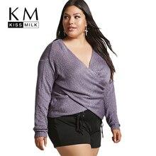 Kissmilk Women Plus Size Criss Wrinkled Sweater Long Sleeve Purple Deep V Neck Basic Tops Large Size Sexy Autumn Sweater все цены