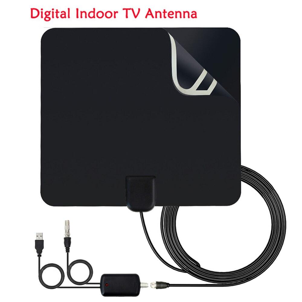 Shpping libre Intérieur TV Antenne à Gain Élevé Amplificateur HDTV Numérique TV Réception Du Signal 50 Miles Gamme Pour DVB-T2 DVB-T Sat récepteur