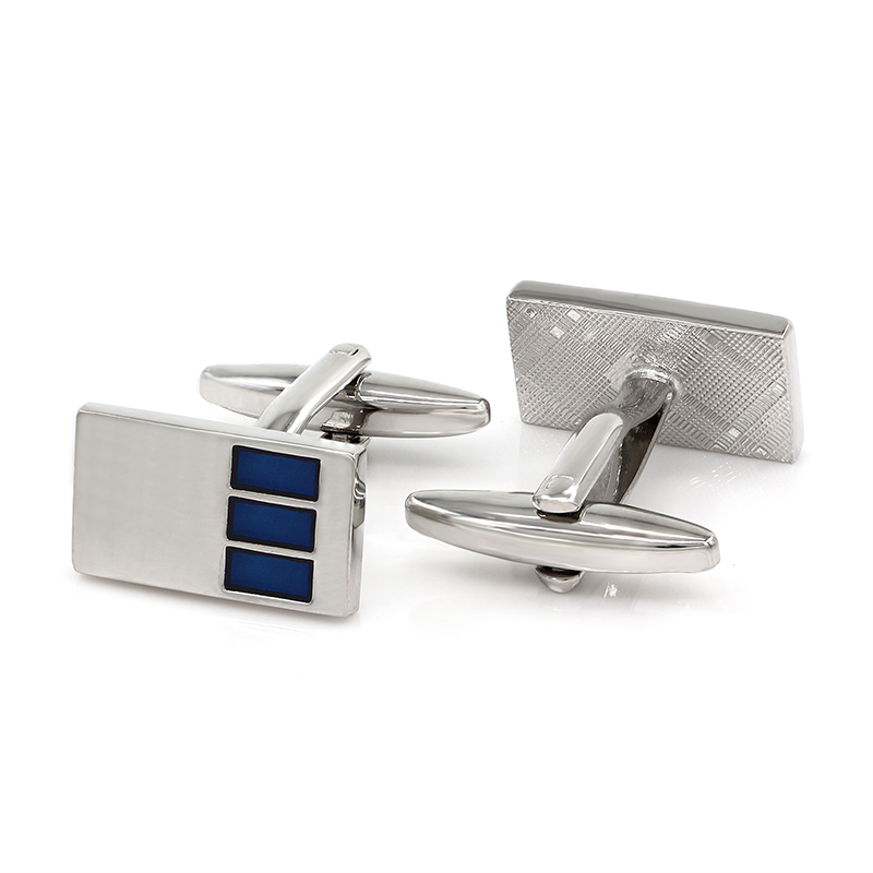 Blue Enamel Metal Cufflinks Personalized Fathers Day Gifts