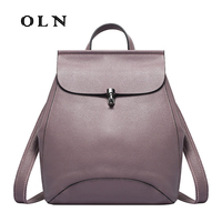 OLN High Quality Genuine Leather Women Backpack Vintage Backpack for Girls Casual Bags Female Shoulder Bags School Backpack
