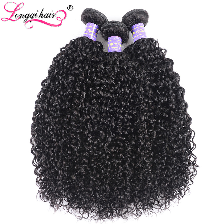 Image 5 - Longqi Curly Hair Bundles Remy Human Hair Brazilian Hair Weave Bundles 8 26 Inch Natural Black Human Hair Extension 1/3/4 Bundle-in Hair Weaves from Hair Extensions & Wigs