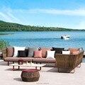 Открытый патио алюминиевая мебель leisurel Чат набор веранда sectinal сидения погодостойкие ручное плетение диван набор