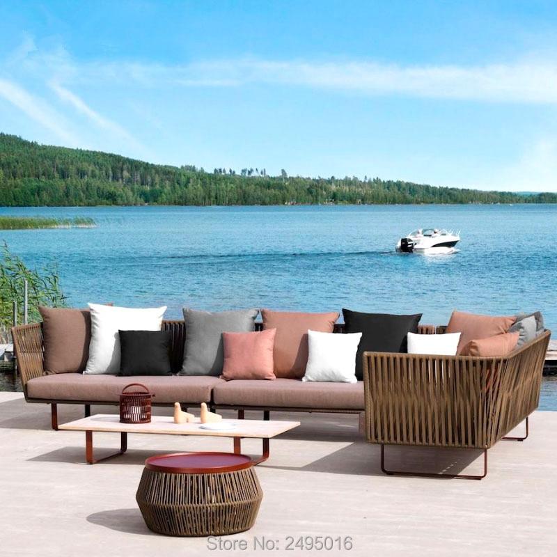 Outdoor Patio Aluminum Leisurel Furniture Chat Set Porch Sectinal Seating Weather Resistant Manual Weaving Sofa Set