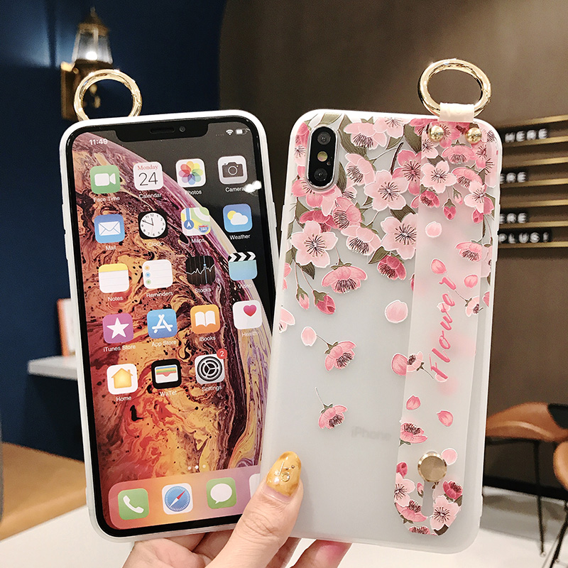 SoCouple Flower Soft TPU Wrist Strap Case For iphone 7 8 6 6s plus X Xs max XR Relief Floral Phone Holder Case Transparent Cover (9)
