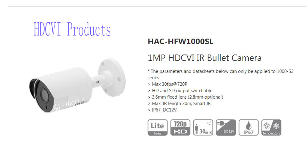 Free Shipping DAHUA CCTV 1MP 720P 1MP HDCVI IR Bullet Camera IP67 Without Logo HAC-HFW10 ...