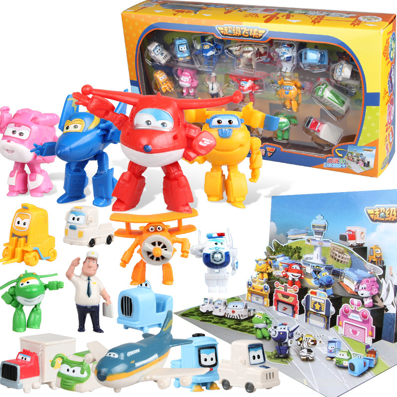 3.5Cm Super Wings 18Pcs Suite Q Version Mini Doll Minifigures Scene Airplane Robot Action Figures Toys For Kids Birthday Gift 12pcs set children kids toys gift mini figures toys little pet animal cat dog lps action figures