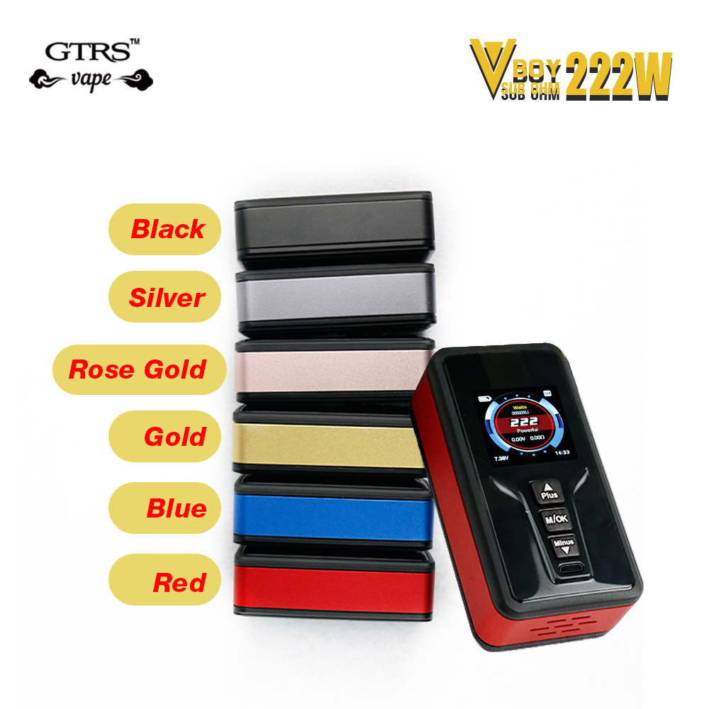 Original Kangside 222W GTRS VBOY TC Box MOD with SX520 Chip mod vape TFT IPS Full Color Display vaper E-cig mod box original kangside gtrs gt200 box mod limou chip mod vape 18650 upgrade gt150 mod 18650 vape mods vaporizer