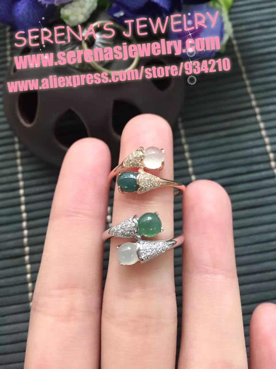 classic and elegant 925 sterling silver rose gold or silvery fine jewelry natural greed jade icy jadiete ring for women