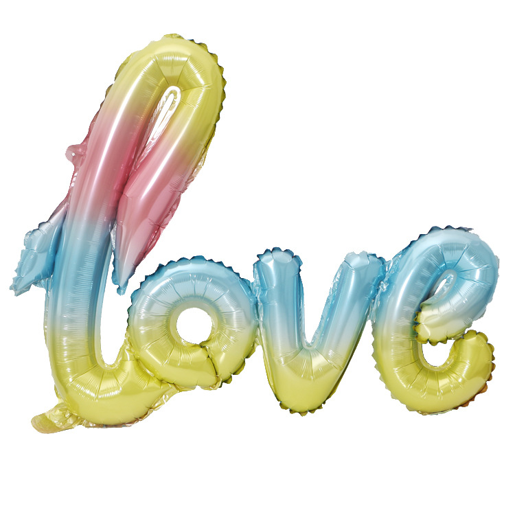 Valentine 39 s day wedding wedding decoration birthday party conjoined LOVE foil balloons balloon gradient aluminum film in Ballons amp Accessories from Home amp Garden