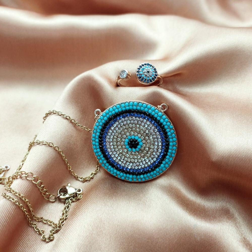 Luxury Gold Dainty Disco Necklaces Rings Blue Crystal Lucky Eyes Turkey Jewelry Sets Big Round Micro Pave Necklace Set For Women in Jewelry Sets from Jewelry Accessories