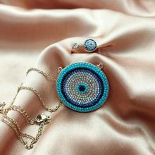 Luxury Gold Dainty Disco Necklaces Rings Blue Crystal Lucky Eyes Turkey Jewelry Sets Big Round Micro Pave Necklace Set For Women