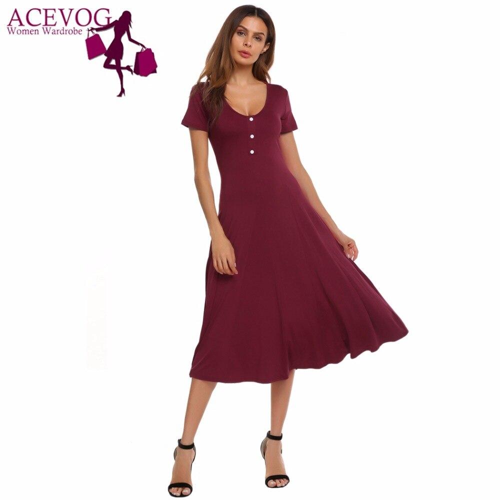ACEVOG Frauen Schaukel Kleid Sommer Herbst Kurzarm Taste Femme Robe ...