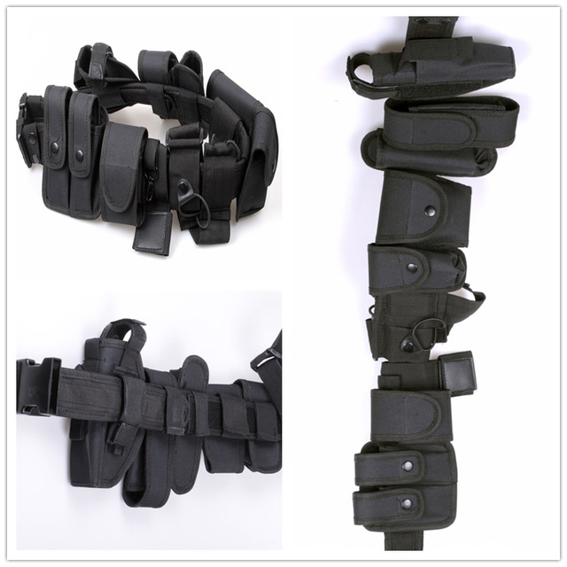 Multifunctional Security Belts Tactical Military Training Polices Guard Utility Kit Duty Waist Support With Pouch Set Black