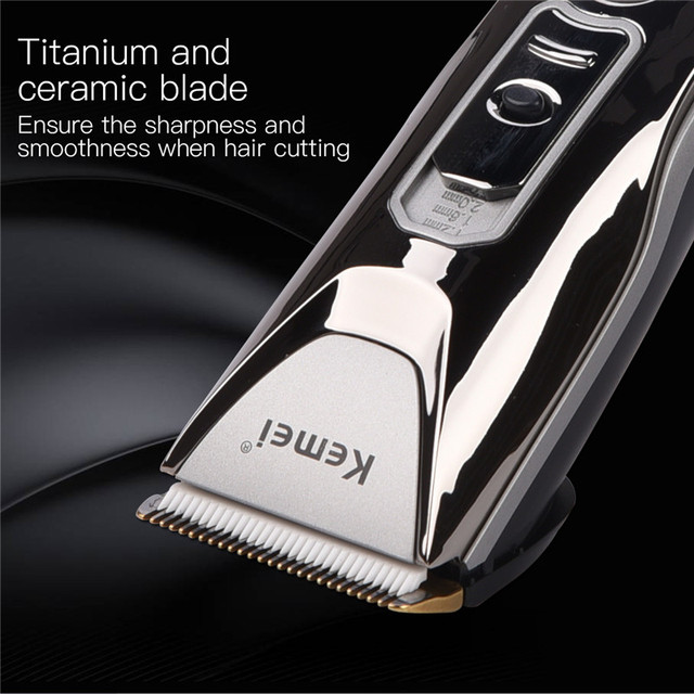 Kemei Electric Ceramic Hair Clipper Rechargeable Hair Trimmer Shaver Barber Hair Cutting Machine Haircut Beard Trimmer LED  1