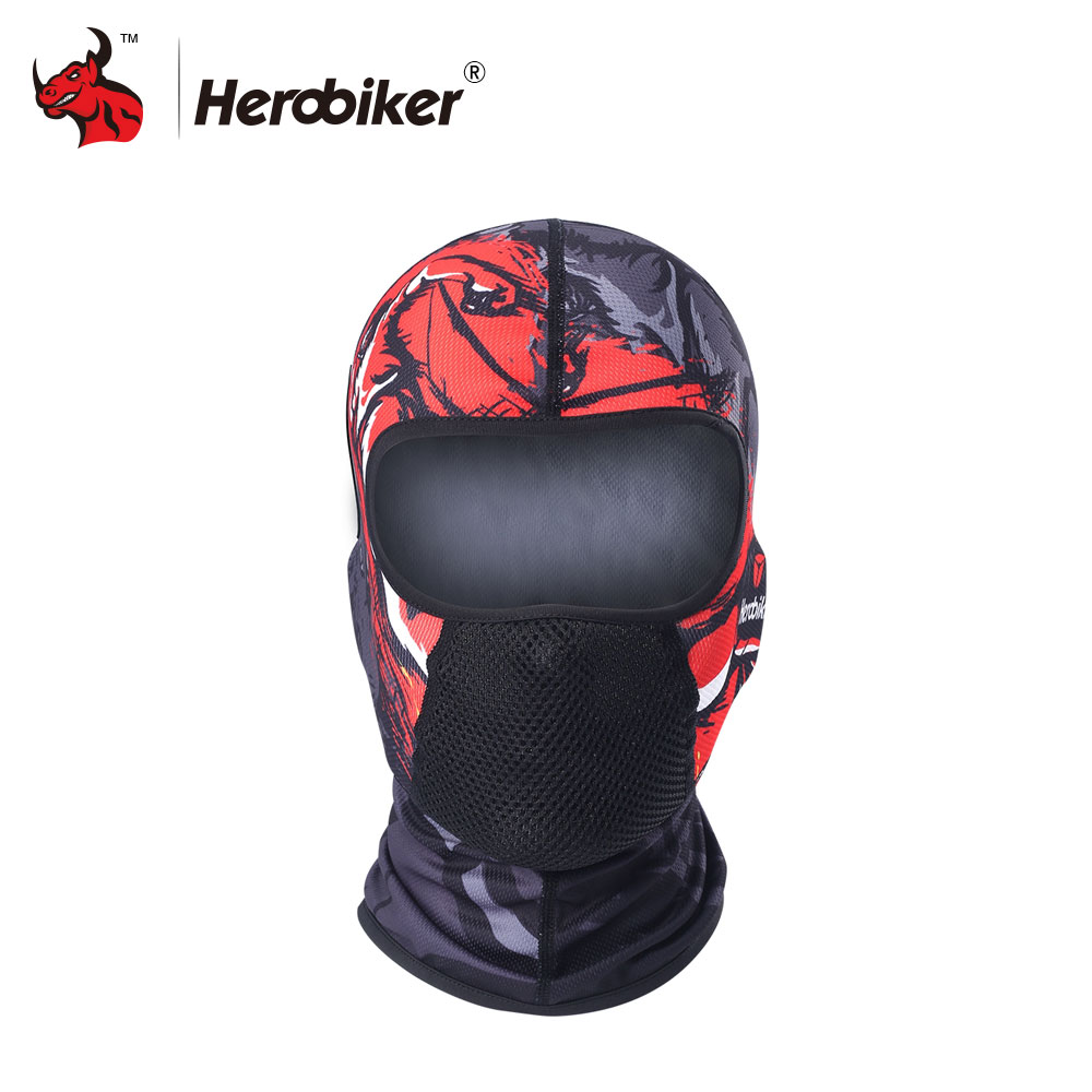 HEROBIKER Face Mask Motosikal Balaclava Summer Moto Bikers Mask Motosikal Basikal Perisai Face Shield Motorcycle Sun-protection