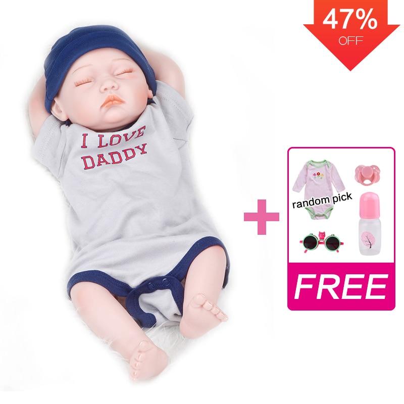 UCanaan 20 Inch Full Body Silicone Reborn Baby Boy Dolls Realistic Newborn Alive Babies Lifelike Handmade