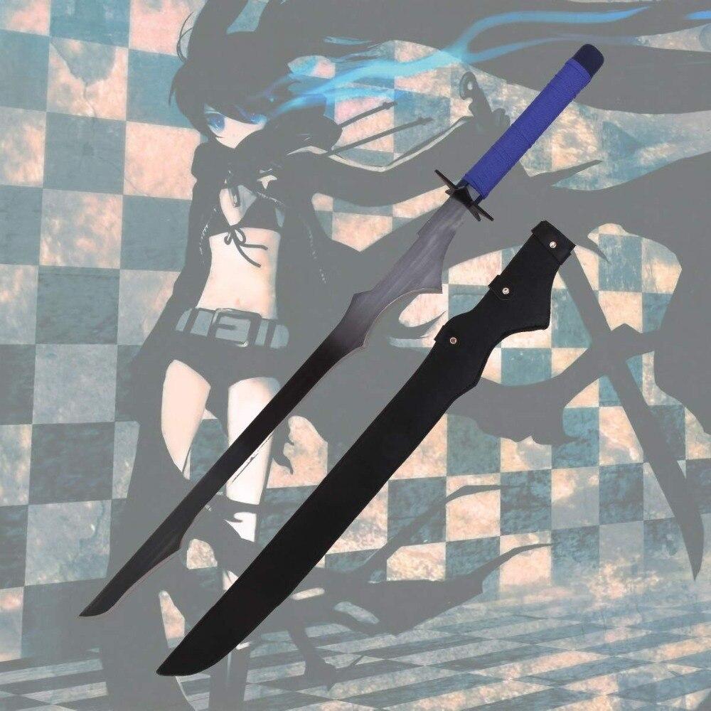 Tireur de Rock noir Cosplay épée japonais Anime jeu Katana acier au carbone lame etoile Tsuba