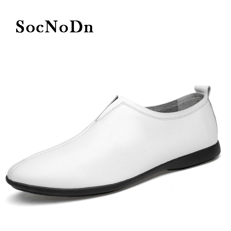 SocNoDn Men Loafers White Leather Shoes Slip ons 2018 Spring Summer Leisure Casual Footwear Man Boat Shoe Flats Moccasin Soft clax men s casual shoes fashion leisure shoe 2018 spring summer men leather footwear breathable handmade loafers sewing sole
