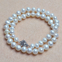 Round beads necklace 8mm natural freshwater pearl jewelry pearl necklace choker necklace fine jewelry vintage accessories