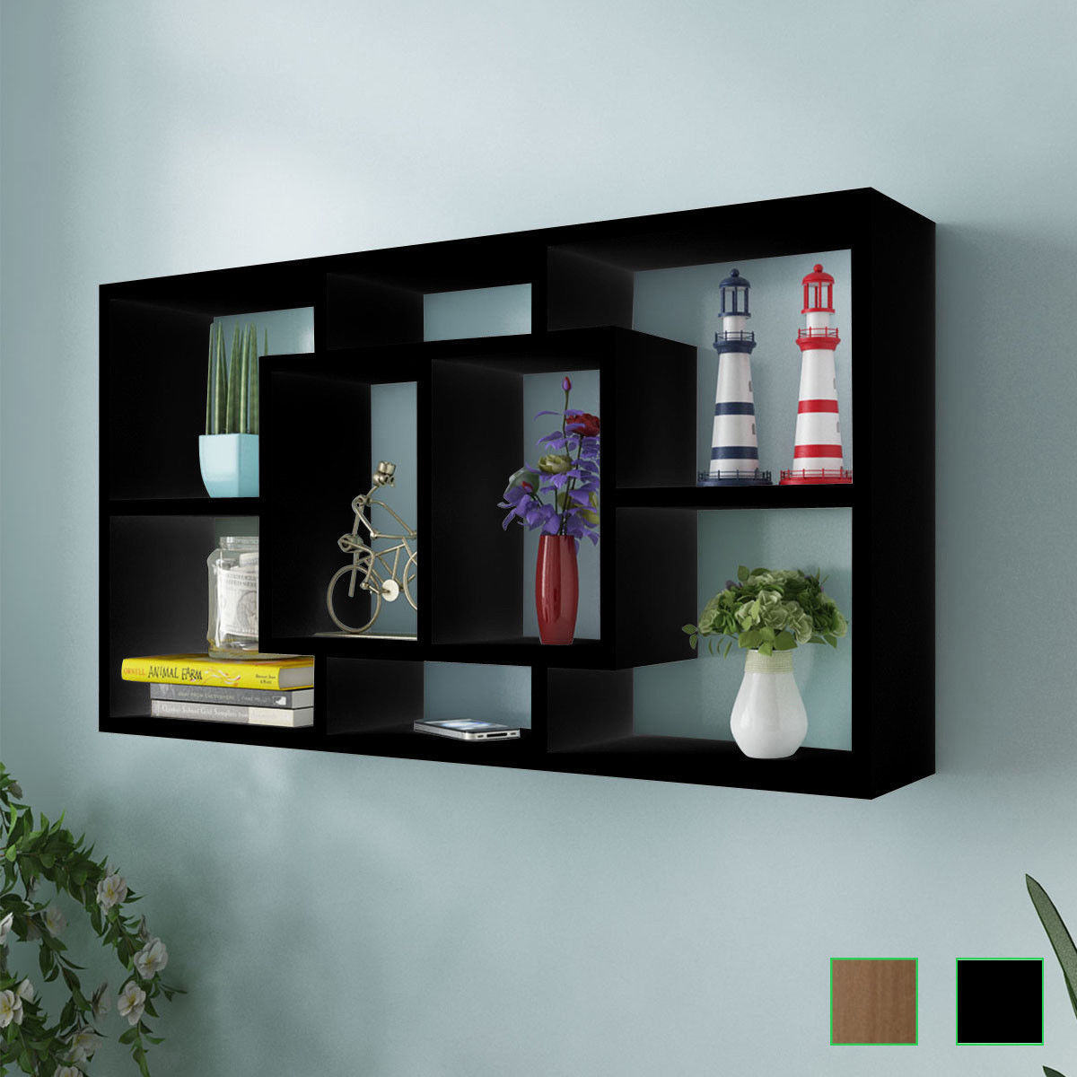 Floating Shelf Hanging Storage Unit Wall Mount Display Rack 8 Open Compartments In Holders Racks From Home Garden On Aliexpress Alibaba