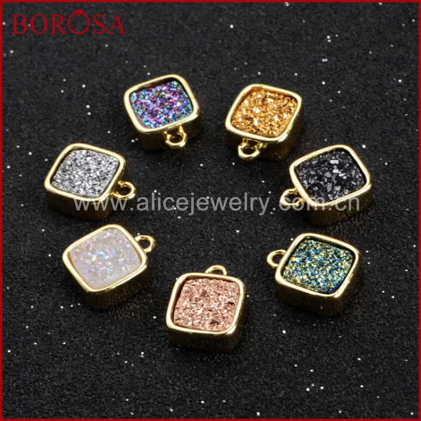 BOROSA Square Shape Black Color Druzy Crystal Geode Druzy Pendants Gold Color Titanium Druzy Pendant Connector