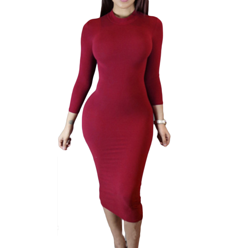 2018 spring and autumn dress turleneck full sleeve solid Europe and exports European and American sexy long dresses YD1028