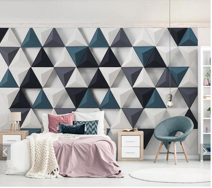 Customized Modern 3D Papel De Parede, Geometric Triangle