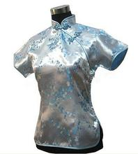 Light Blue Floral Vintage Ladies Blouse Summer Novelty Women Satin Shirt Traditional Chinese Costume Size S M L XL XXL WS011