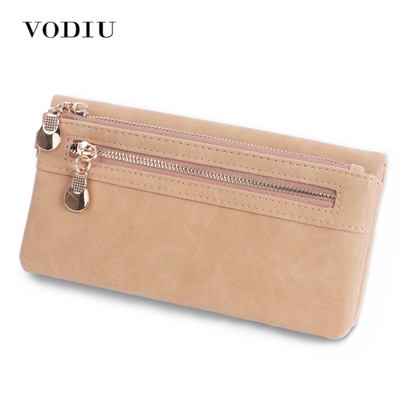 Scrub Leather 2017 Women Wallet Double Zipper Female Clutch Purse Wristlet Coin Credit Card Holder Handbags Trifold Slim Cuzdan baellerry double zipper women business card holder wallet oil wax leather purse female name bank credit cards driver license bag