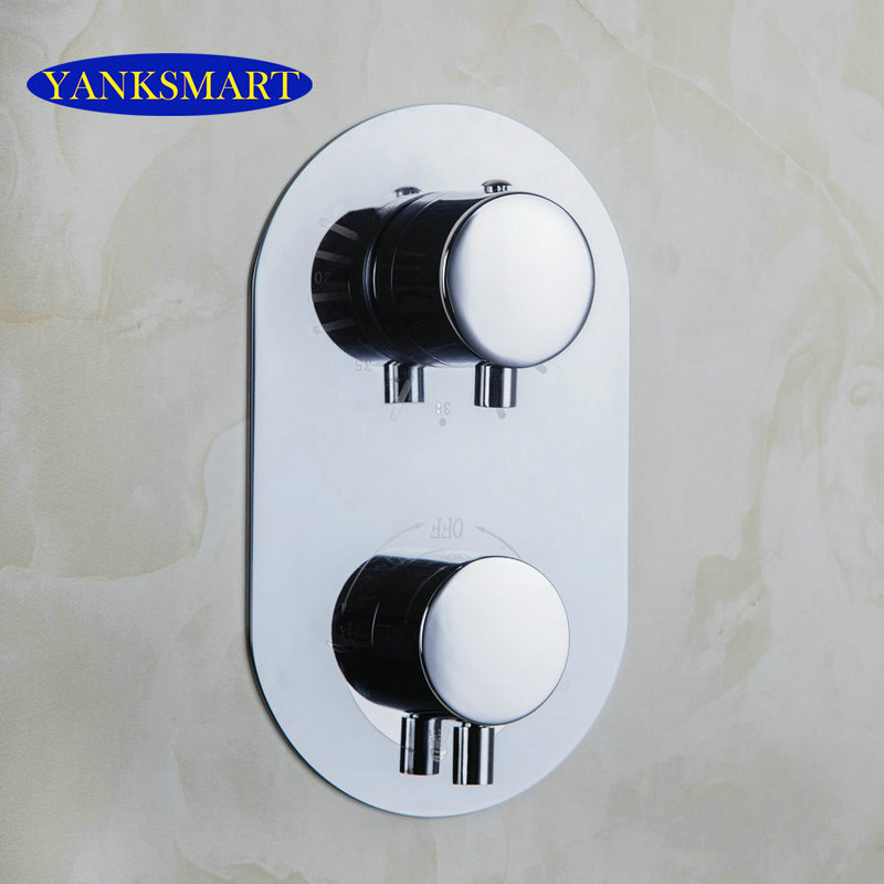 YANKSAMRT  Bathroom Thermostatic Control Valve Shower Mixer Tap Faucet Wall Mount Bathroom Shower chrome finish dual handles thermostatic valve mixer tap wall mounted shower tap