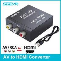 SGEYR AV RCA to HDMI Converter Composite 3 RCA Audio Video CVBS to HDMI Adapter AV HDMI Converter Upscaler 1080P 720P for VHS