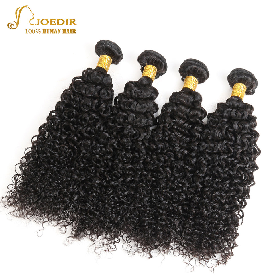 Joedir Malaysian Kinky Curly Hair 4 Bundle Deals Natural Color Human Hair Bundles 10-26 Inch Non Remy Hair Weave Free Shipping